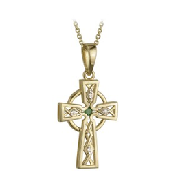 PENDANTS & NECKLACES SOLVAR 14K CELTIC CROSS with DIAMOND & EMERALD