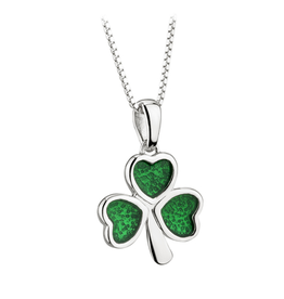 PENDANTS & NECKLACES ACARA SILVER & GREEN ENAMEL SHAMROCK PENDANT