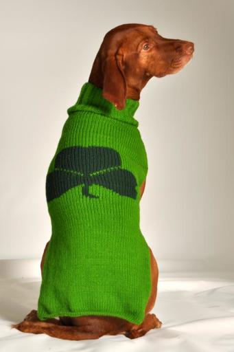MISC NOVELTY CLEARANCE - DOG SWEATER: GREEN SHAMROCK - FINAL SALE
