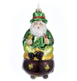 ORNAMENTS POT O' GOLD SANTA ORNAMENT