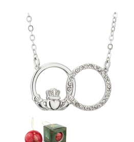 PENDANTS & NECKLACES SOLVAR CHRISTMAS BAUBLE & PLATED CLADDAGH NECKLACE with STONES