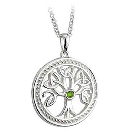PENDANTS & NECKLACES SOLVAR STERLING with STONE TREE OF LIFE LRG ROUND PENDANT
