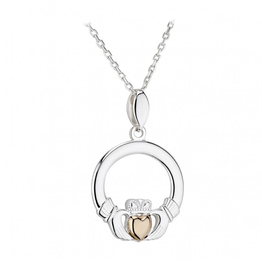 PENDANTS & NECKLACES SOLVAR STERLING CLADDAGH PENDANT with 10K HEART