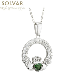 PENDANTS & NECKLACES SOLVAR STERLING & CRYSTAL CLADDAGH BIRTHSTONE PENDANT