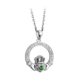 PENDANTS & NECKLACES SOLVAR SILVER CRYSTAL ILLUSION CLADDAGH PENDANT