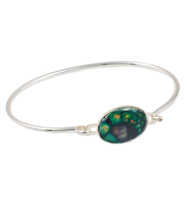 BRACELETS & BANGLES HEATHERGEM OVAL PLATED BANGLE