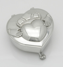 DECOR MULLINGAR PEWTER HEART SHAPED MUSICAL JEWELRY BOX