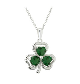 PENDANTS & NECKLACES SOLVAR PENDANT SHAMROCK WITH GREEN STONES