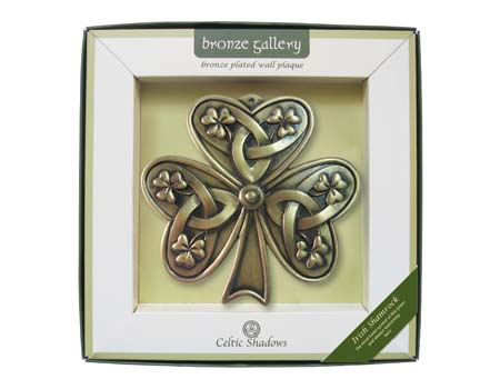 PLAQUES & GIFTS CELTIC BRONZE GALLERY WALL PLAQUE - SHAMROCK