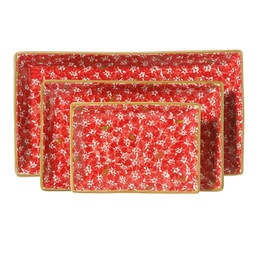 KITCHEN & ACCESSORIES NICHOLAS MOSSE 3 RECTANGLE NESTING DISHES - RED LAWN