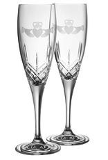 WEDDING GALWAY CRYSTAL FLUTES - CLADDAGH (2)