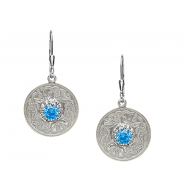 EARRINGS BORU STERLING WARRIOR EARRINGS with SWISS BLUE & CLEAR CZs