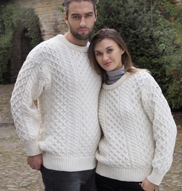 MISC NOVELTY UNISEX IRISH ARAN CREW NECK SWEATER - Natural - P-10505