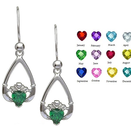 EARRINGS BORU STERLING TEAR-DROP BIRTHSTONE CLADDAGH EARRINGS