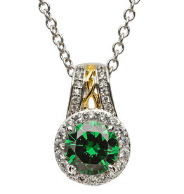 PENDANTS & NECKLACES SHANORE STERLING CELTIC HALO PENDANT with GREEN CZ