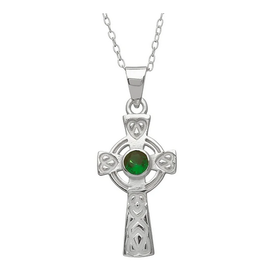 PENDANTS & NECKLACES WOODS STERLING CELTIC CROSS w HEART KNOTS & GREEN STONE