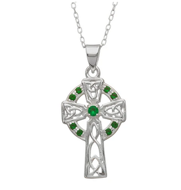 PENDANTS & NECKLACES WOODS STERLING TRADITIONAL CELTIC CROSS w STONES
