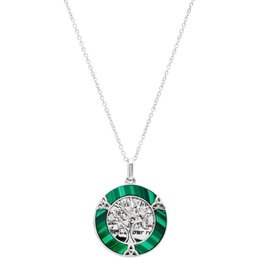 PENDANTS & NECKLACES SHANORE STERLING ROUND TREE of LIFE PENDANT with MALACHITE