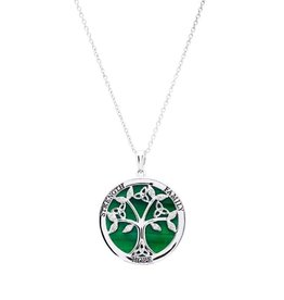 PENDANTS & NECKLACES SHANORE STERLING TREE of LIFE PENDANT with MALACHITE & CZ