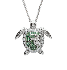 PENDANTS & NECKLACES OCEAN STERLING TURTLE PAIR PENDANT with CRYSTALS