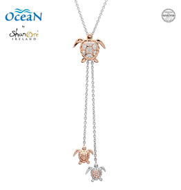 PENDANTS & NECKLACES OCEAN STERLING TRI-TURTLE CHAIN PENDANT w. RG & CRYSTALS