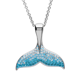 PENDANTS & NECKLACES OCEAN STERLING WHALE TAIL PENDANT with CRYSTALS