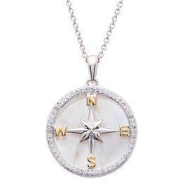 PENDANTS & NECKLACES OCEAN STERLING COMPASS PENDANT w/ MOTHER of PEARL & SWAROVSKI CRYSTALS