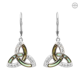 EARRINGS SHANORE STERLING TRINITY EARRINGS with ABALONE & SWAROVSKI CRYSTALS
