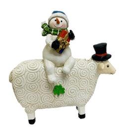 HOLIDAY DECOR IRISH SNOWMAN with HIS SHEEP
