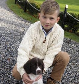 SWEATERS CHILDREN'S IRISH KNIT HALF-ZIP SWEATER - Natural