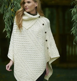 CAPES & RUANAS IRISH KNIT COWL NECK PONCHO w. BUTTONS - Natural