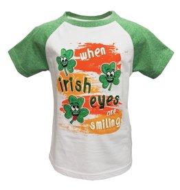 KIDS CLOTHES GREEN GRINDLE IRISH EYES KIDS RAGLAN T-SHIRT
