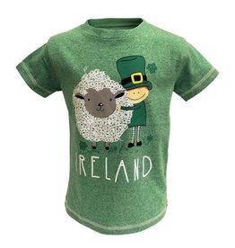 KIDS CLOTHES GRN MARL KIDS T-SHIRT w/ SHEEP & LEPRECHAUN