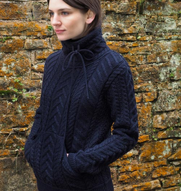SWEATERS CLEARANCE - LADIES DRAWSTRING COWL NECK SWEATER - Navy - FINAL SALE