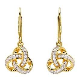 EARRINGS SHANORE 14K GOLD VERMEIL ROUNDED TRINITY DROP EARRINGS w/ SET CZs