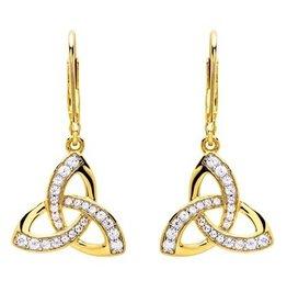 EARRINGS SHANORE 14K GOLD VERMEIL TRINITY DROP EARRINGS w/ SET CZs