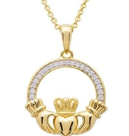 PENDANTS & NECKLACES SHANORE 14K GOLD VERMEIL CLADDAGH PENDANT w/ SET CZs