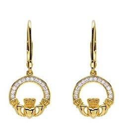 EARRINGS SHANORE 14K GOLD VERMEIL CLADDAGH DROP EARRINGS w/ SET CZs