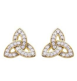 EARRINGS SHANORE 14K GOLD VERMEIL SML TRINITY STUD EARRINGS w/ SET CZs