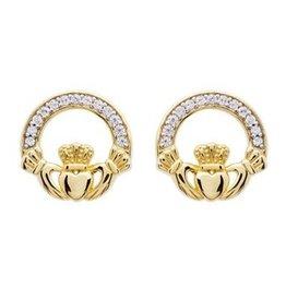 EARRINGS SHANORE 14K GOLD VERMEIL SML CLADDAGH STUD EARRINGS w/ SET CZs