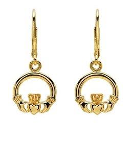 EARRINGS SHANORE 14K GOLD VERMEIL CLASSIC CLADDAGH DROP EARRINGS