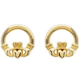 EARRINGS SHANORE 14K GOLD VERMEIL CLASSIC CLADDAGH STUD EARRINGS