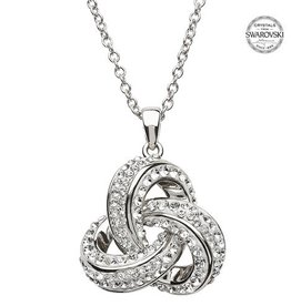 PENDANTS & NECKLACES SHANORE STERLING ROUNDED TRINITY PENDANT w/  CRYSTALS
