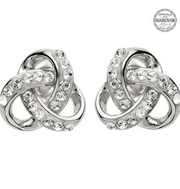 EARRINGS SHANORE STERLING ROUNDED TRINITY STUD EARRINGS w/  CRYSTALS