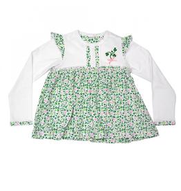 BABY CLOTHES SHAMROCK PRINT LONG SLEEVE BABY DRESS