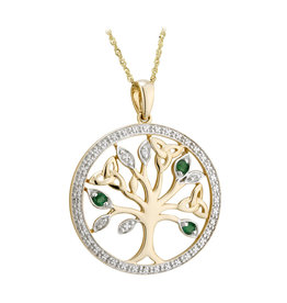 PENDANTS & NECKLACES SOLVAR 14K TREE OF LIFE PENDANT w. DIAMOND & EMERALD