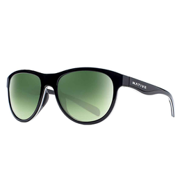 Native Eyewear Native Sunglasses Acadia, Frame Matte Black, Lens Green Reflex
