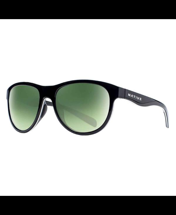 Native Sunglasses Acadia, Frame Matte Black, Lens Green Reflex