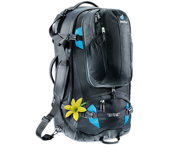 Deuter Traveller 60+10 SL Backpack, Black/Turquoise
