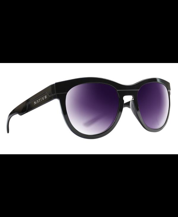 Native Sunglasses La Reina, Frame Gloss Black, Lens Violet Reflex